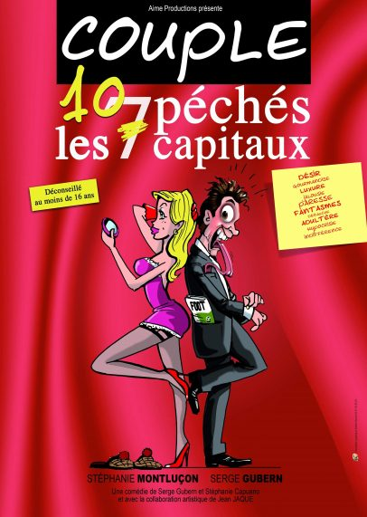 affiche pièce théatre comédie, Couple - les 10 pêchés capitaux, à la nouvelle comédie de nice