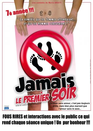 affiche spectacle la nouvelle comédie nice JAMAIS LE PREMIER SOIR